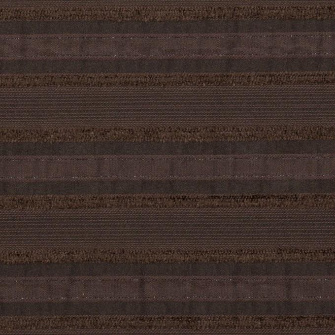 コットン&ナイロン混×ボーダー(ブラウン)×ジャガード・ストレッチ イメージ1