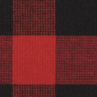 コットン×チェック(レッド)×蜂巣織_全3色