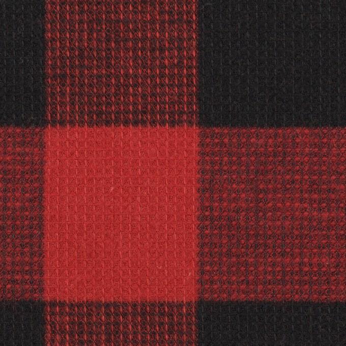 コットン×チェック(レッド)×蜂巣織_全3色 イメージ1