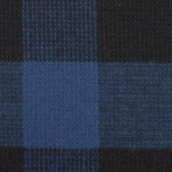 コットン×チェック(マリンブルー)×蜂巣織_全3色