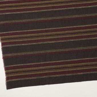 コットン&リネン混×ボーダー(ダークブラウン)×薄キャンバス・ジャガード_全2色 サムネイル2