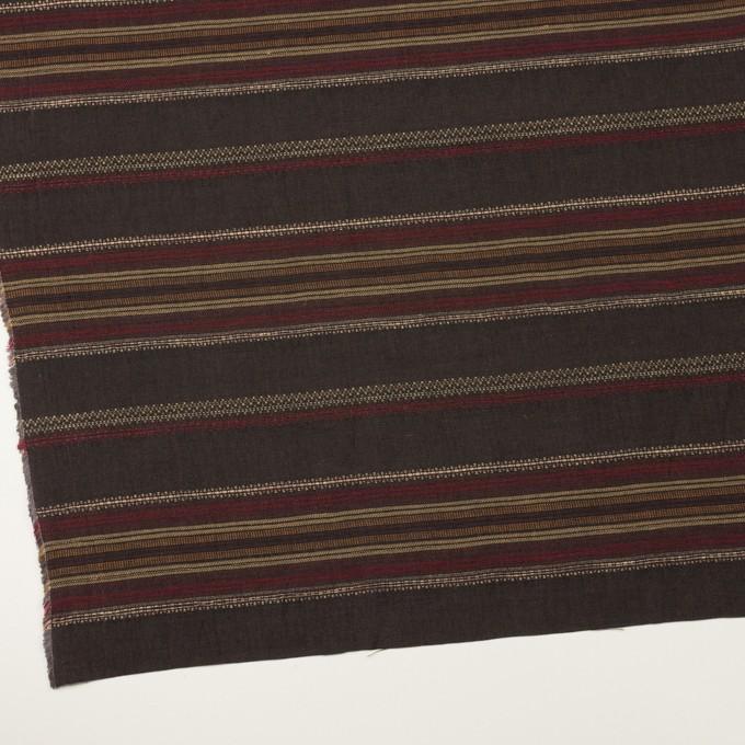 コットン&リネン混×ボーダー(ダークブラウン)×薄キャンバス・ジャガード_全2色 イメージ2