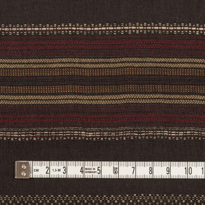 コットン&リネン混×ボーダー(ダークブラウン)×薄キャンバス・ジャガード_全2色 イメージ4