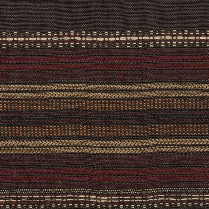コットン&リネン混×ボーダー(ダークブラウン)×薄キャンバス・ジャガード_全2色 イメージ1