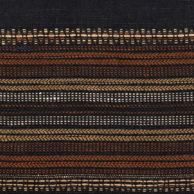 コットン&リネン混×ボーダー(ダークネイビー)×薄キャンバス・ジャガード_全2色 イメージ1