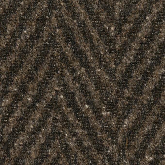 コットン&ポリエステル混×ミックス(ダークブラウン)×ヘリンボーン イメージ1