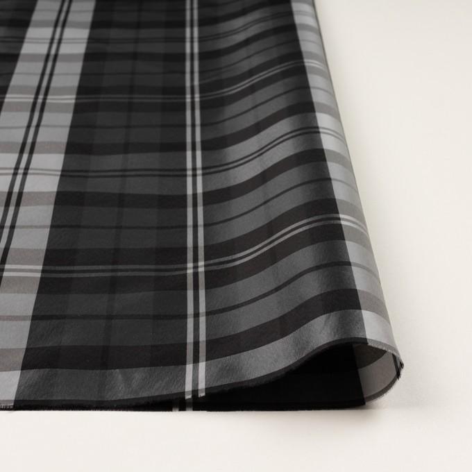 ナイロン&トリアセテート×チェック(シルバーグレー&ブラック)×形状記憶タフタ イメージ3