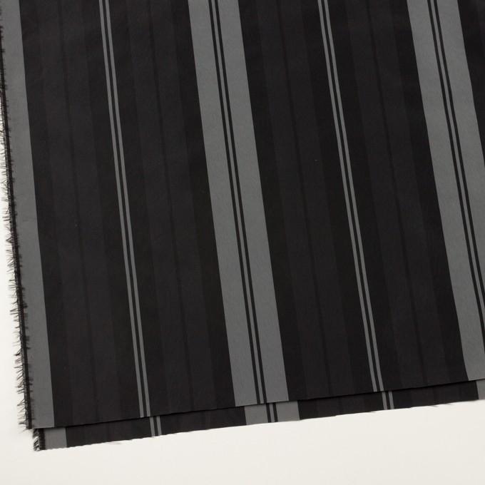 ナイロン&トリアセテート×ストライプ(シルバーグレー&ブラック)×形状記憶タフタ イメージ2