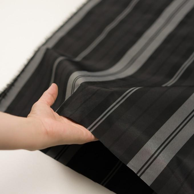 ナイロン&トリアセテート×ストライプ(シルバーグレー&ブラック)×形状記憶タフタ イメージ5