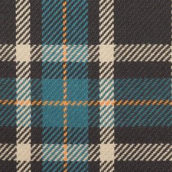 コットン×チェック(ブルーグレー&チャコール)×斜子織