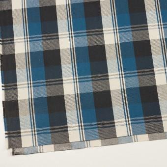 コットン×チェック(アッシュブルー&チャコール)×斜子織 サムネイル2