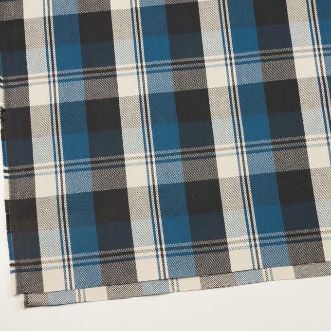 コットン×チェック(アッシュブルー&チャコール)×斜子織 イメージ2