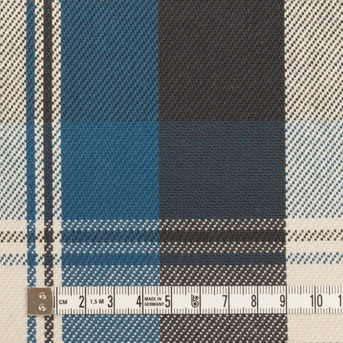 コットン×チェック(アッシュブルー&チャコール)×斜子織 イメージ4