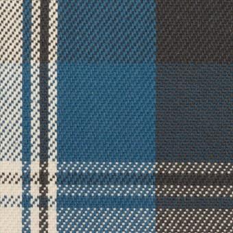 コットン×チェック(アッシュブルー&チャコール)×斜子織 サムネイル1