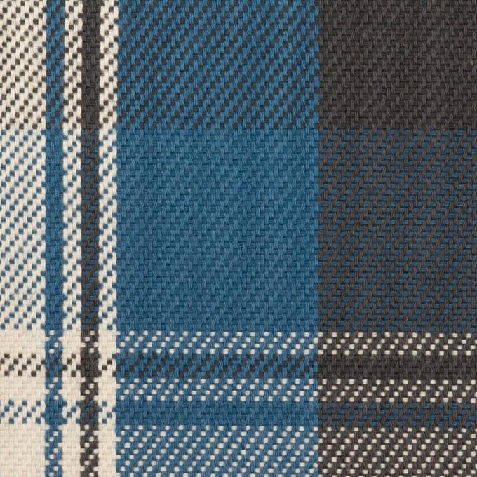 コットン×チェック(アッシュブルー&チャコール)×斜子織 イメージ1