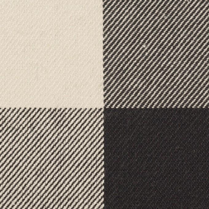 コットン×チェック(アイボリー&ブラック)×厚ビエラ イメージ1