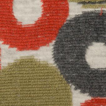 コットン&ポリエステル×サークル(レッド、カーキグリーン&チャコールグレー)×ジャガードニット