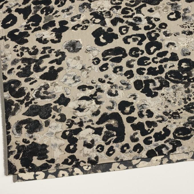 コットン&ナイロン混×幾何学模様(キナリ&ブラック)×ジャガード・ストレッチ イメージ2