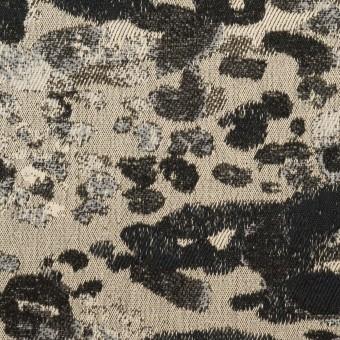 コットン&ナイロン混×幾何学模様(キナリ&ブラック)×ジャガード・ストレッチ サムネイル1