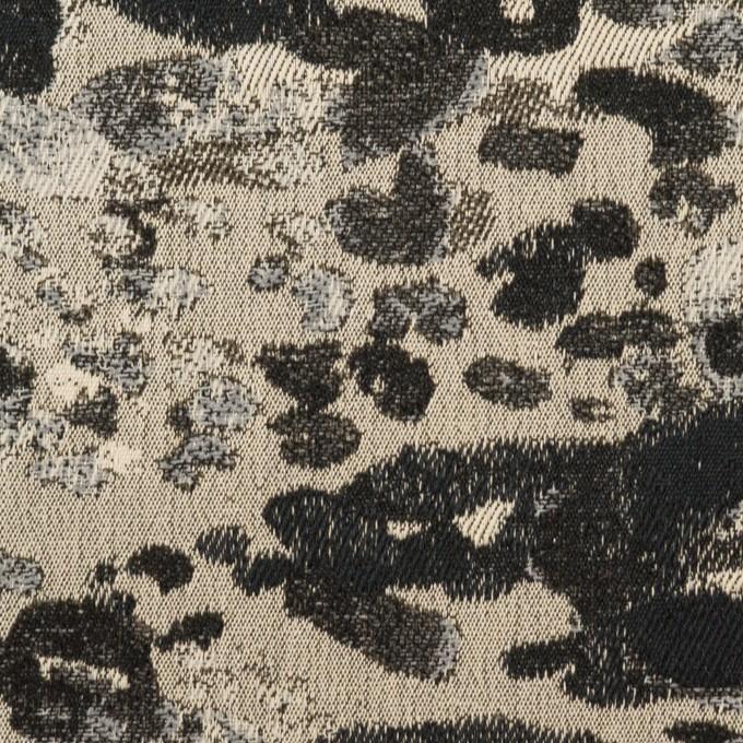コットン&ナイロン混×幾何学模様(キナリ&ブラック)×ジャガード・ストレッチ イメージ1