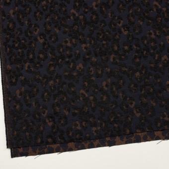 ポリエステル&ウール混×レオパード(ネイビー&ブラウン)×ジャガード サムネイル2