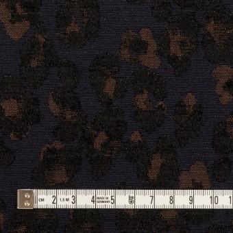 ポリエステル&ウール混×レオパード(ネイビー&ブラウン)×ジャガード サムネイル4