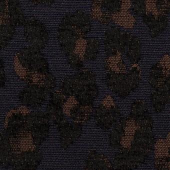 ポリエステル&ウール混×レオパード(ネイビー&ブラウン)×ジャガード
