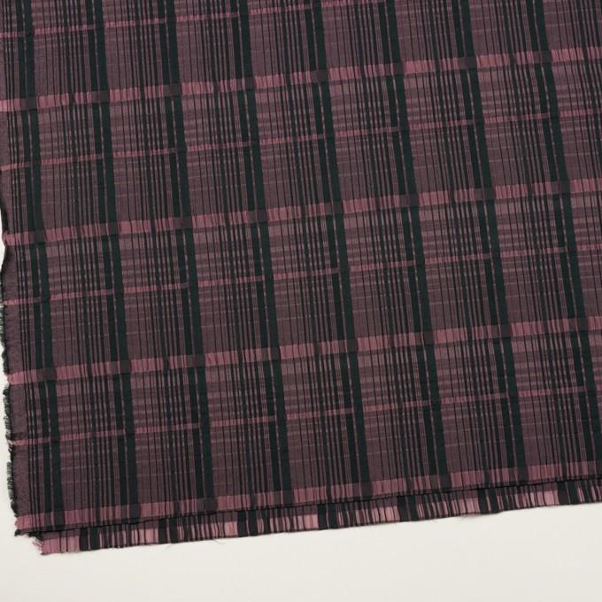 コットン&キュプラ混×チェック(ローズ&ブラック)×ジャガード・ストレッチ イメージ2