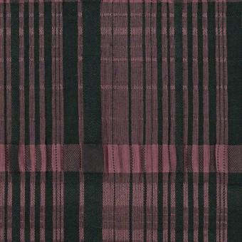 コットン&キュプラ混×チェック(ローズ&ブラック)×ジャガード・ストレッチ サムネイル1