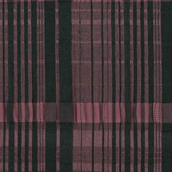 コットン&キュプラ混×チェック(ローズ&ブラック)×ジャガード・ストレッチ イメージ1