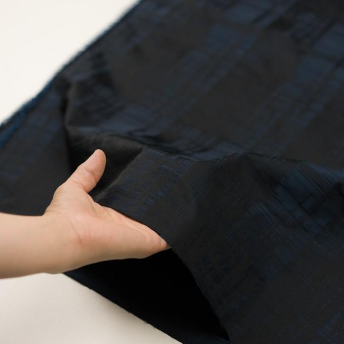 ポリエステル×チェック(ネイビー&ブラック)×形状記憶タフタジャガード イメージ5
