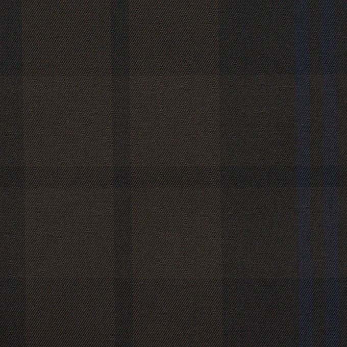 ポリエステル×チェック(ネイビー&ブラウン)×形状記憶タフタ イメージ1