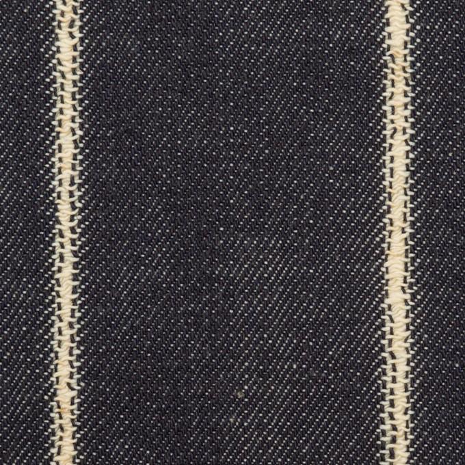コットン×ストライプ(インディゴ)×セルビッチ・デニム(13.5oz) イメージ1