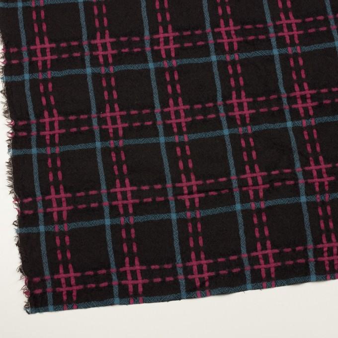 ウール×チェック(ブラック、チェリー&ブルーグレー)×ガーゼ イメージ2