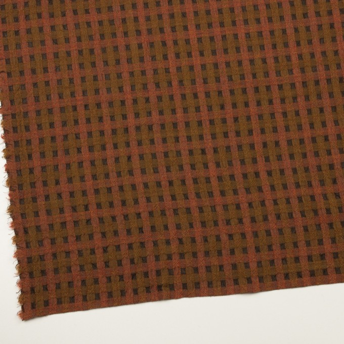 ウール&ポリエステル×チェック(レンガ&ブラウン)×ガーゼ イメージ2