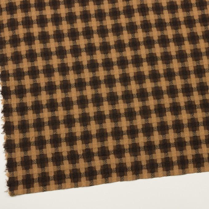 ウール&ポリエステル×チェック(ベージュ&ブラウン)×ガーゼ イメージ2