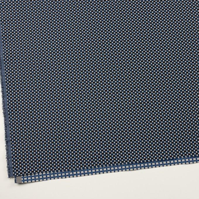 ポリエステル&ポリウレタン×小紋(マリンブルー&ブラック)×ジャガード・ストレッチ イメージ2