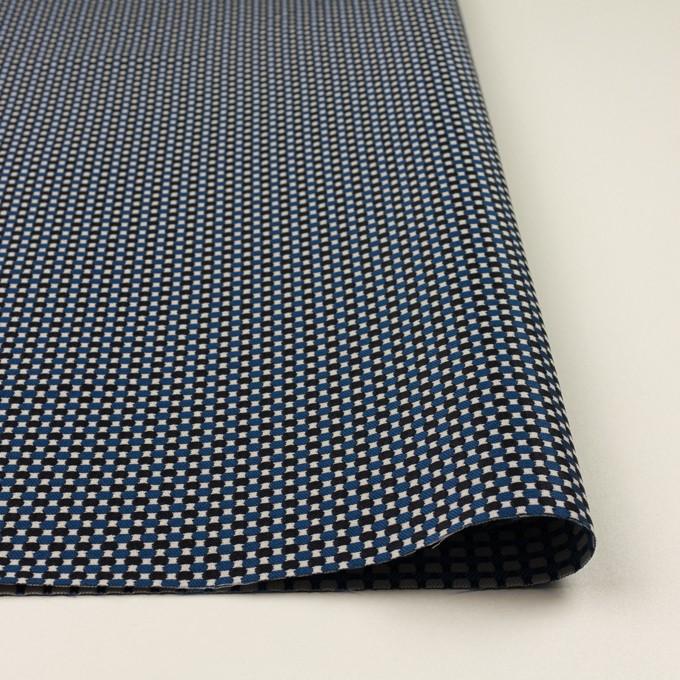 ポリエステル&ポリウレタン×小紋(マリンブルー&ブラック)×ジャガード・ストレッチ イメージ3
