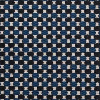 ポリエステル&ポリウレタン×小紋(マリンブルー&ブラック)×ジャガード・ストレッチ サムネイル1