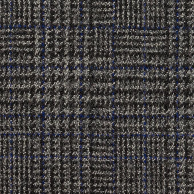 ウール&ポリウレタン×チェック(チャコールグレー)×ツイードストレッチ イメージ1