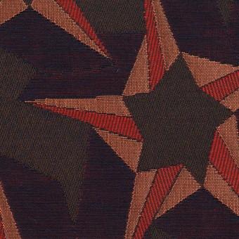 ポリエステル&コットン×幾何学模様(アプリコット&ネイビー)×フクレジャガード