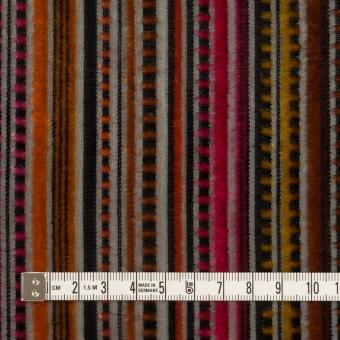 レーヨン&ポリエステル×ストライプ(オレンジ&チェリー)×オパールベルベット_全2色_フランス製 サムネイル4