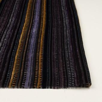 レーヨン&ポリエステル×ストライプ(バイオレット&ネイビー)×オパールベルベット_全2色_フランス製 サムネイル3