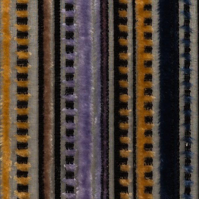 レーヨン&ポリエステル×ストライプ(バイオレット&ネイビー)×オパールベルベット_全2色_フランス製 イメージ1