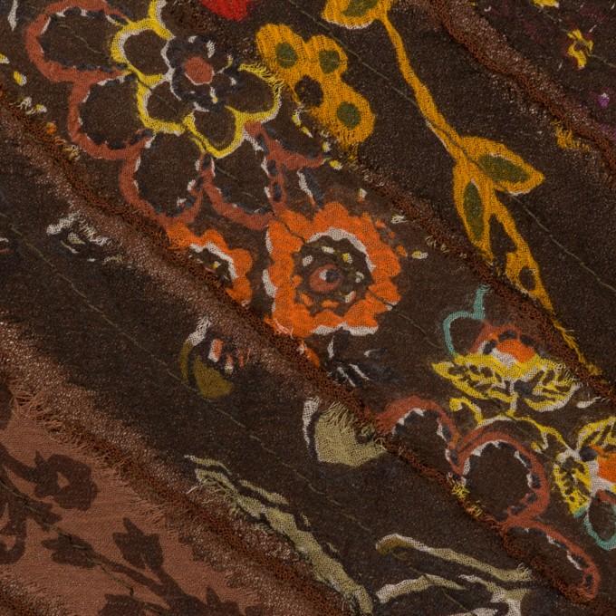 レーヨン×バイヤス(ブラウン)×ジョーゼット_フランス製 イメージ1