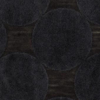 ウール&ポリエステル×サークル(アッシュネイビー&ブラック)×天竺ニット_フロッキー_全2色