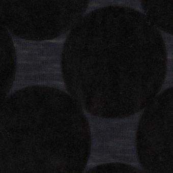 ウール&ポリエステル×サークル(ブラック&アッシュネイビー)×天竺ニット_フロッキー_全2色