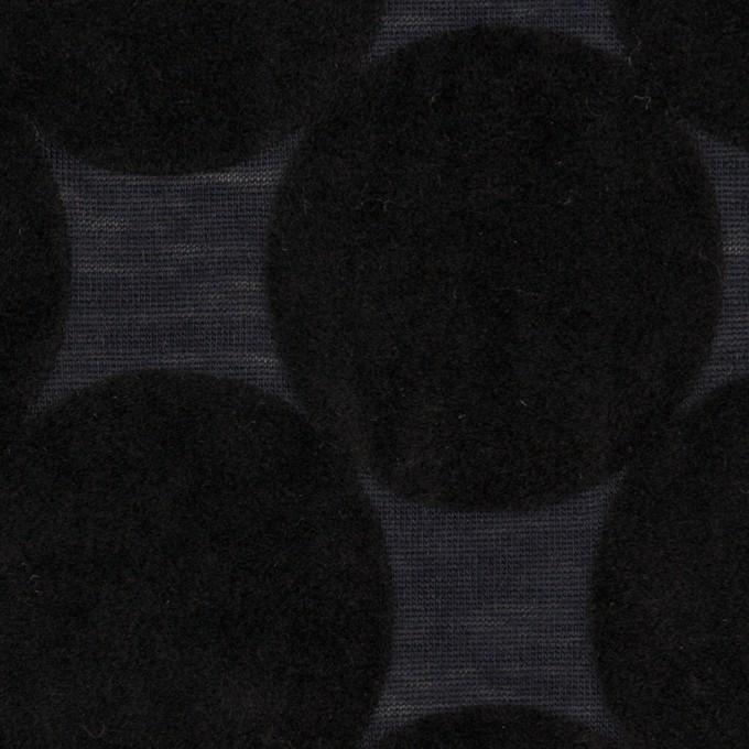 ウール&ポリエステル×サークル(ブラック&アッシュネイビー)×天竺ニット_フロッキー_全2色 イメージ1