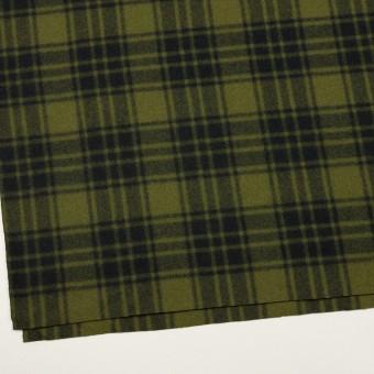ウール&ナイロン×チェック(カーキグリーン&ブラック)×フラノ(フランネル) サムネイル2