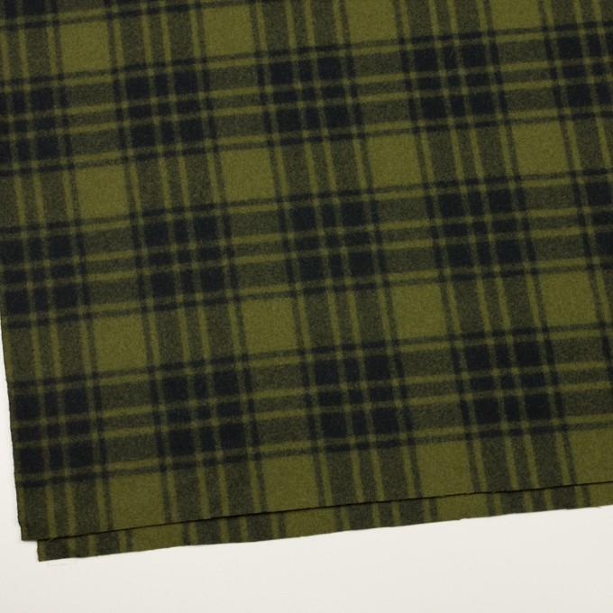 ウール&ナイロン×チェック(カーキグリーン&ブラック)×フラノ(フランネル) イメージ2